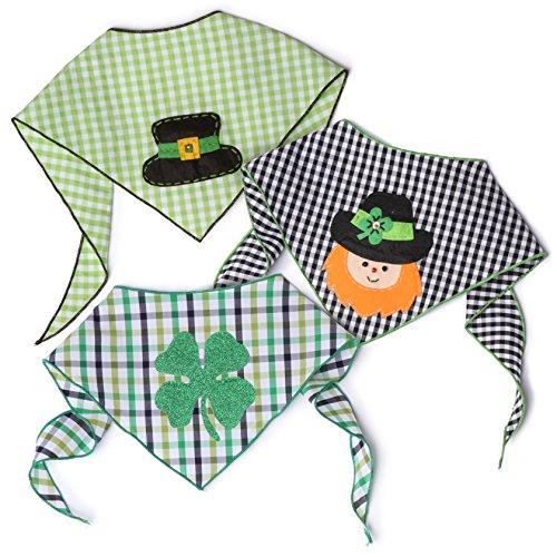 Tail Trends St. Patrick's Day Dog Bandana 3 Pack - 100% Cotton