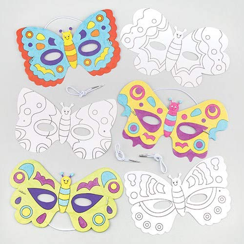 Baker Ross Butterfly Color in Craft Masks for Children to Decorate & Wear as a Part of a Costume at a Fancy Dress Party (Pack of 6) (Best Colors To Wear)