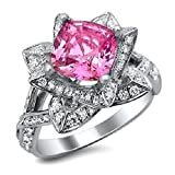 Smjewels 2.05 Ct Cushion Cut Pink Sapphire & Sim.Diamond Lotus Flower Ring 14K White Gold Fn