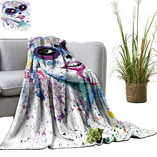YOYI Single-Sided Blanket Halloween Girl with Sugar Skull Makeup,Watercolor Painting. for Bed & Couch Sofa Easy Care 60