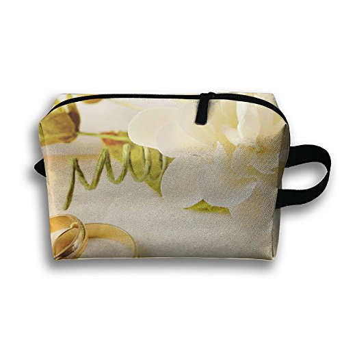 Pengyong Flowers And Couple Ring Small Travel Toiletry Bag Super Light Toiletry Organizer For Overnight Trip Bag by Pengyong