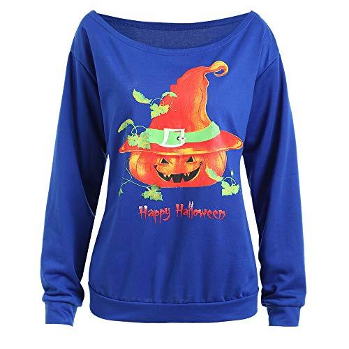 2018 Limsea Fashion Women Halloween Pumpkin Head Print O-Neck Long Sleeve Sweatshirt Tee(Blue,XX-Large) ()