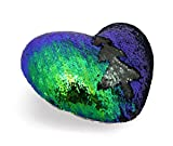 Zdada Mermaid Throw Pillow with Insert, Reversible Sequins Pillow Heart Shape Decorative Cushion 13''x15'' Green and Black
