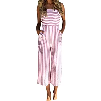 b78cd0b81 Amazon.com: Spaghetti Strap Stripes Jumpsuit for Women Back Bow Tie Crop  Wide Leg Pant Romper Bravetoshop(Pink, XL): Beauty