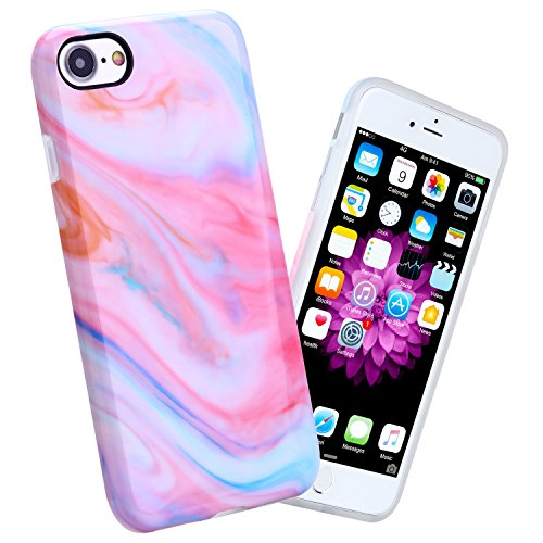iPhone 7 Case, 4.7 inch White Marble Design Slim Shockproof Flexible Glossy TPU Soft Case For iPhone 7 (Colored Marble) - Colored Marble