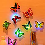 JINGBOSHI 12PCS Butterfly Lights, Flashing Colorful 3D Butterfly Wall Stickers for Girl Bedroom Baby Kids Toy Gift, Creative LED Small Lamp Night Light Stickers Home Decor Room Decora