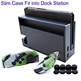 Cheap Hikfly 3in1 Ultra Slim Docked PC Cover Case for Nintendo Switch(Transparent Black) & Silicone Covers (Camo Green) for Joy-Con Controllers with 8pcs Thumb Grips Super Thin Fit into Dock