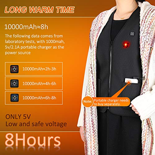 Gilet Chauffant Homme et Femmes Chargement USB Hiver Vêtement Chauffant Lavable Chauds Gilet Chauffé pour Activités de… 4