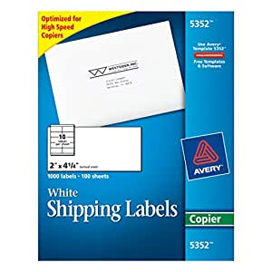 "Avery Self-Adhesive Address Labels for Copiers, White, 2"" x 4-1/4, 1000/Box (5352)"