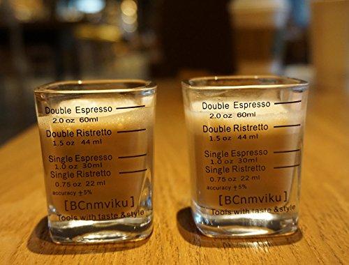 (Handmade Espresso Shot Glasses Measuring Liquid Heavy Glass Cup for Baristas 2oz Single Ristrettos)