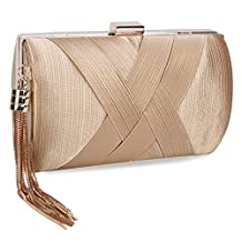 UBORSE Women's Noble Tassel Pendant Silk Evening Party Clutch Bags Bridal Wedding Purse Golden