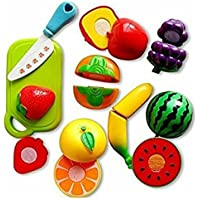 ivee international Plastic World Fruits and Vegetables Cutting Play Toy Set with Velcro-8 Pieces