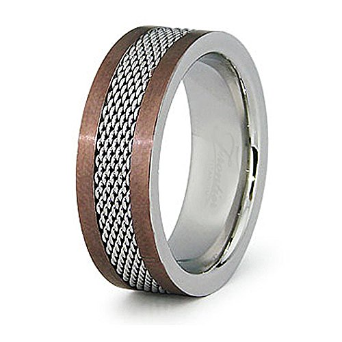 Espresso Plated Center - West Coast Jewelry 8mm Stainless Steel Espresso Plated Ring with Polished Mesh Center - Size 14