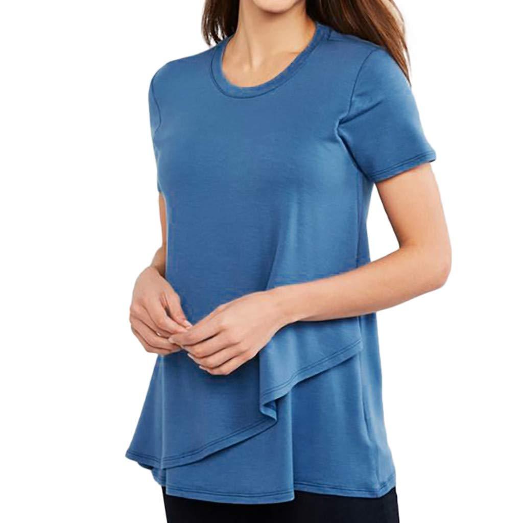 Femme T-Shirt Ete /à Manches Courtes Col Rond Couche Double Enceinte Grossesse Allaitement Tops de maternit/é en M/élange de Coton Gilet Blouse Siswong ❤️ T-Shirt de Maternit/é