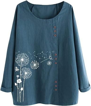Reooly Camiseta de Manga Larga con Estampado de Flores y Cuello en ...