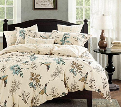 Cottage Country Style 3 Piece Duvet Cover Set Multicolored Roses Peonies Bouquet 100-percent Cotton Shabby Chic Reversible Floral Bedding (King, Teal)