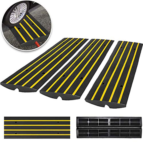 (Happybuy 3 Pack Driveway Rubber Curb Ramps Kit Heavy Duty Car Threshold Ramp 2.5
