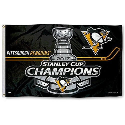 NHL Pittsburgh Penguins 2017 Stanley Cup Champions Banner Flag, Black, 3-foot x 5-Foot