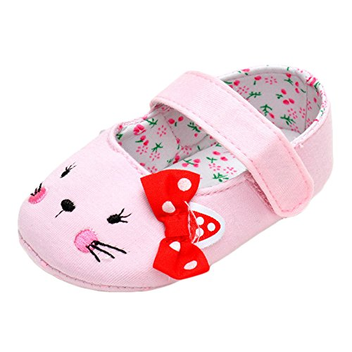 L'enfant Baby Girls Cute Cat Bowknot Mary Jane Shoes Infant Soft Sole Anti-slip Sneakers Pink US 5