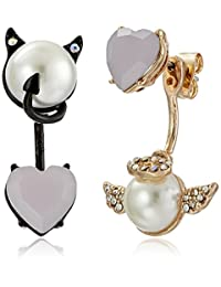Betsey Johnson Pearl Angel & Devil Mismatch Front & Back Earring