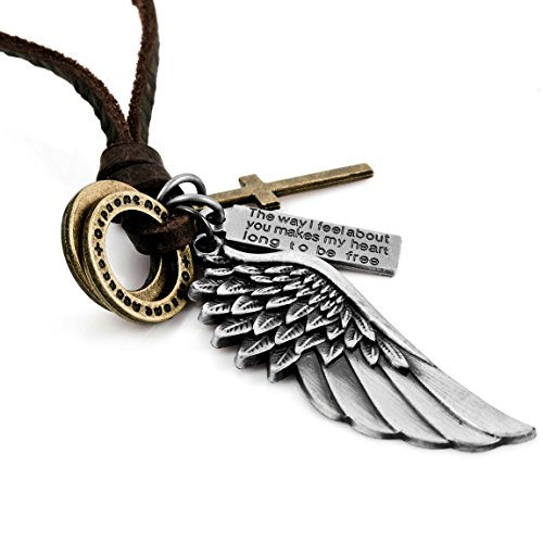 Angel Wings Gold (Naivo Men's Alloy Leather Pendant Necklace Silver Gold Cross Angel Wing Adjustable 16-26 Inch Chain)