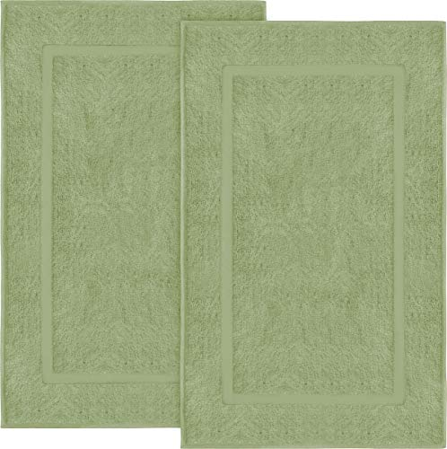 Utopia Towels Cotton Banded Bath Mats, 2 Pack (21 x 34 Inches), Sage Green