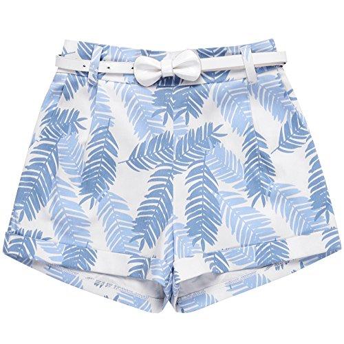 Bonny Billy Girls Fashoin Shorts Holiday Turn-up Hem Clothes Belt Size 10 Blue