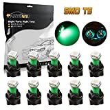 mitsubishi 3000gt speedometer - Partsam 10pcs PC74 T5 37 74 LED 5050 SMD Instrument Panel LED Light Gauge Cluster Dashboard Indicator Bulbs with Twist Socket, Green