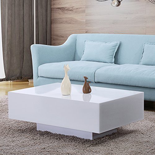 Modern High Gloss White Square Coffee Table With 2 Layers: Amazon.com: Mecor High Gloss White Rectangle Coffee Table