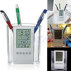 Upupo LCD Digital Alarm Clock Desk Pen Holder, Pencil Organizer, Thermometer Calendar Pen Box