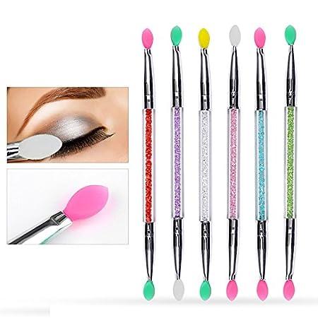 1 cepillo de silicona de doble cabeza para maquillaje, maquillaje, sombra de ojos, cosméticos, herramientas de belleza oobest