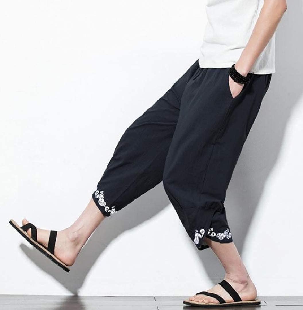 VITryst-Men Embroidery Floral Haren Pants Retro 3//4 Length Cotton Linen Casual Pants