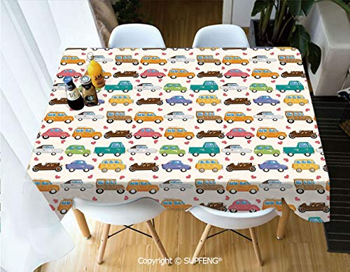 Picnic Tablecloth Vintage Cars Collection in Vivid Colors with Little Hearts Transportation Old Times (60 X 84 inch) Great for Buffet Table, Parties, Holiday Dinner, Wedding & More.Desktop Decoration