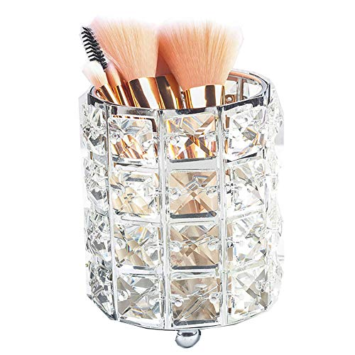 Pahdecor Handcrafted Crystal Rotating Makeup Brush Holder Eyebrow Pencil Pen Cup Collection Cosmetic Storage Organizer for Vanity,Bathroom,Bedroom,Office Desk (Silver) (Candle Square Glass Love Silver)