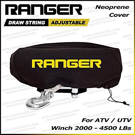 Ranger Large Weather-Resistant Neoprene Storage Winch Dust Cover for 8000-12000 lbs Winches
