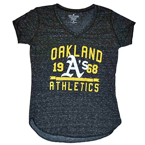 Oakland Athletics A's SAAG Women Gray Flecked Lightweight V-Neck T-Shirt (M) (Light Athletics Oakland)