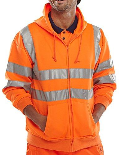 REAL LIFE FASHION LTD Mens Boys Hi Vis Zip up Hoodie Boys Reflective Visibility Workwear Sweatshirt#(Orange Hi Viz Zip up Hoodie#Large#Mens)