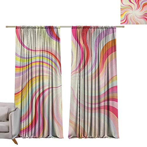 berrly Blackout Grommet Curtains Pastel,Abstract Sunburst Design Wavy Lines Sixties Seventies Style Psychedelic Retro Rays, Multicolor W96 x L108 Kids Blackout Curtains
