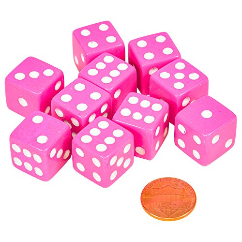 Set of 10 Six Sided D6 16mm Standard Dice Pink with White Pips]()
