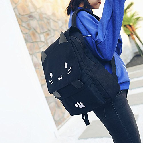 Black College Cute Cat Embroidery Canvas School Laptop Backpack Bags For Women Kids Plus Size Japanese Cartoon Kitty Paw Schoolbag Ruchsack Girls Boys Outdoor Accessories Daypack Bookbag (01White) by DemonChest (Image #3)