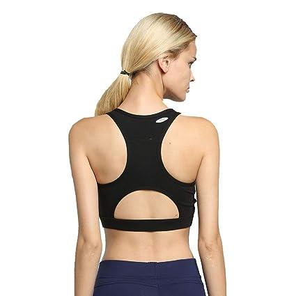 db7842fc4 Elogoog Women s Sports Bra Phone Pocket Racerback High Impact Running Yoga Bras  Activewear