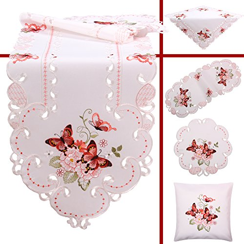 Quinnyshop Rose Butterfly Spring Embroidery Tablecloth for sale  Delivered anywhere in Canada