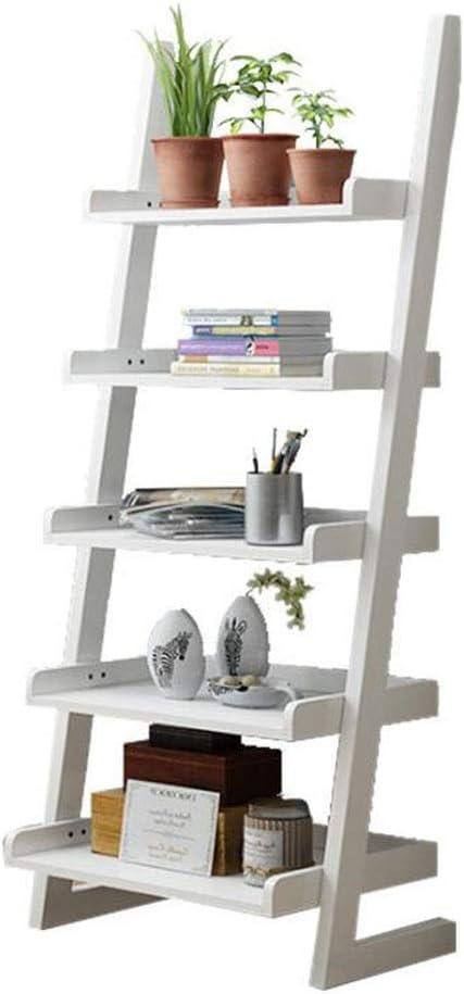 Estantería de escalera portátil estilo vintage con escalera, estante de pared inclinado de roble para sala de estar, dormitorio, G-T, blanco: Amazon.es: Bricolaje y herramientas