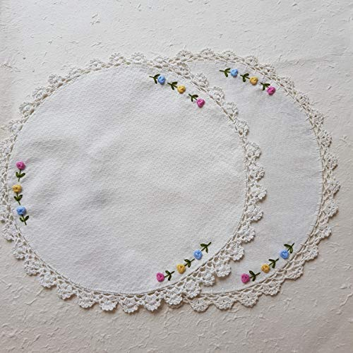Handmade New Doily Crocheted - DOWDEGDEE 2 Pcs 15