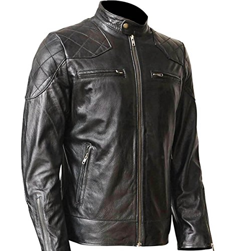 Black,WONDERPIEL Men's Black Genuine Lambskin Leather Biker Jacket Inspired by David Beckham With a Gun Pocket - David Beckham Wear