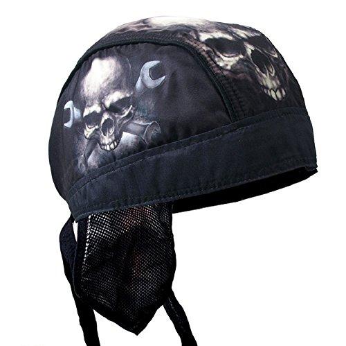 (Black Tan White Skull Crossbone Wrenchs Motorcycle Head Wrap Durag Cap Biker)