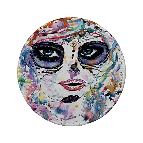 Non-Slip Rubber Round Mouse Pad,Sugar Skull Decor,Halloween Girl with Sugar Skull Makeup Watercolor Painting Style Creepy Decorative,Multicolor,7.87