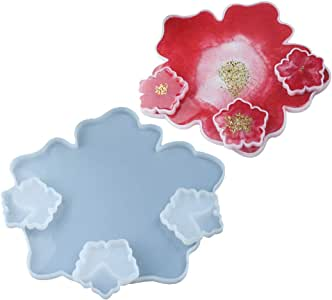 Kapmore 4PCS Epoxy Mold Set Flower Design Silicone Epoxy Mold Casting Resin Mold for DIY