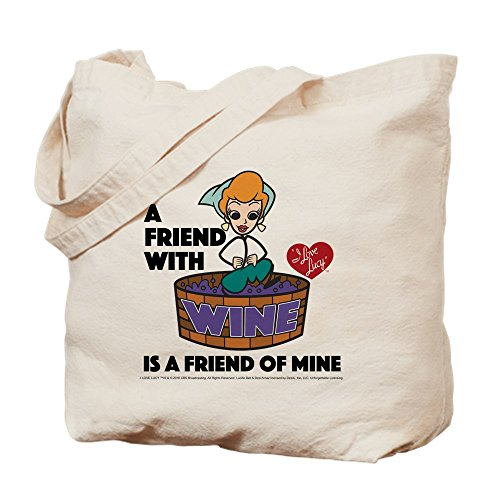 - CafePress I Love Lucy: Wine Friend Natural Canvas Tote Bag, Cloth Shopping Bag