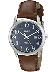Timex Men's TW2P75900 Easy Reader Brown/Silver-Tone/Blue Leather Strap Watch
